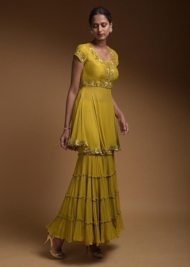 Citrus Green Sharara Suit In Georgette With Raw Silk Bodice And Resham Embroidery Online - Kalki Fashion