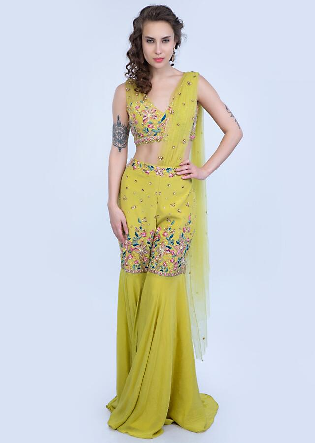 Citrus Green Sharara With Pre Stitched Net Dupatta Paired With A Matching Crop Top Online - Kalki Fashion