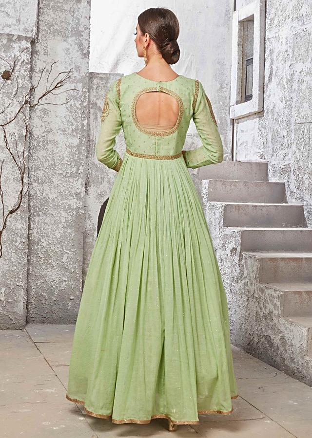 Citrus Green Suit In Shimmer Cotton With Matching Dupatta Online - Kalki Fashion