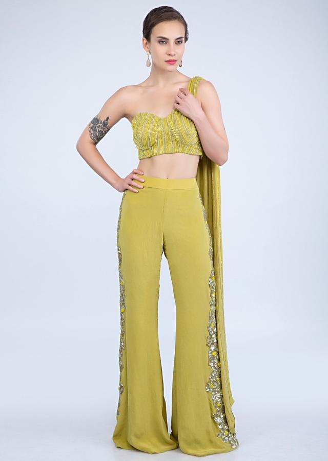 Citrus Green Palazzo With Side Embroidery And Strapless Corset With Attached Cape Online - Kalki Fashion