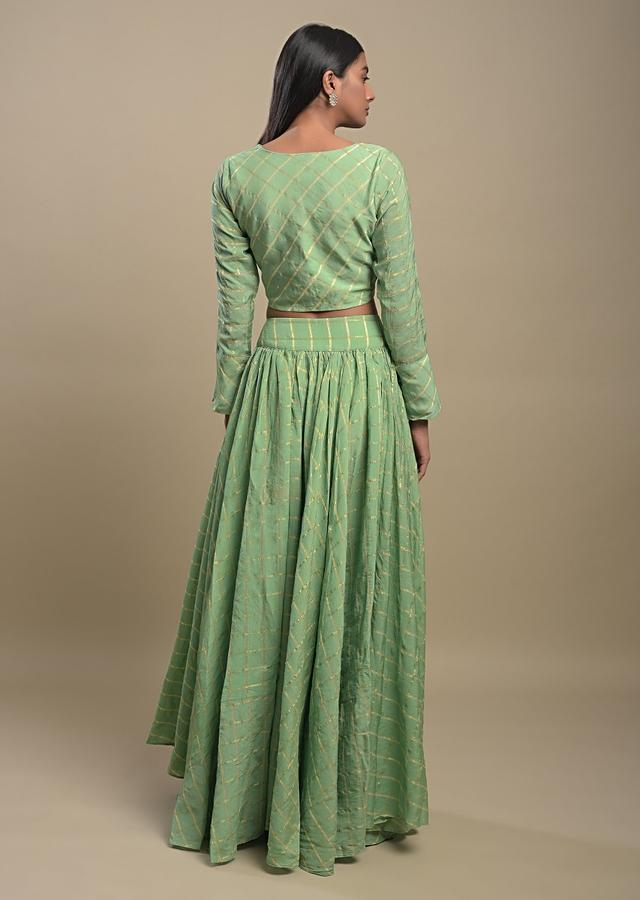Citrus Green Skirt And Crop Top In Cotton With Weaved Checks And Multicolor Velvet Dupatta Online - Kalki Fashion