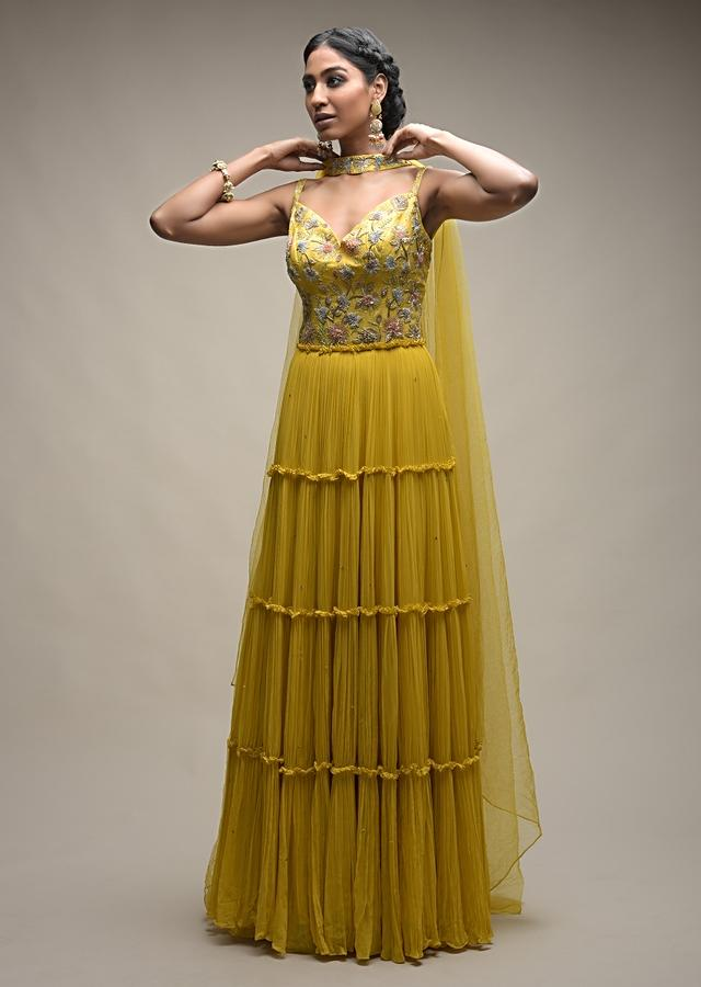 Citrus Indowestern Tiered suit In Georgette With Resham And Beads Embroidered Floral Pattern Online - Kalki Fashion