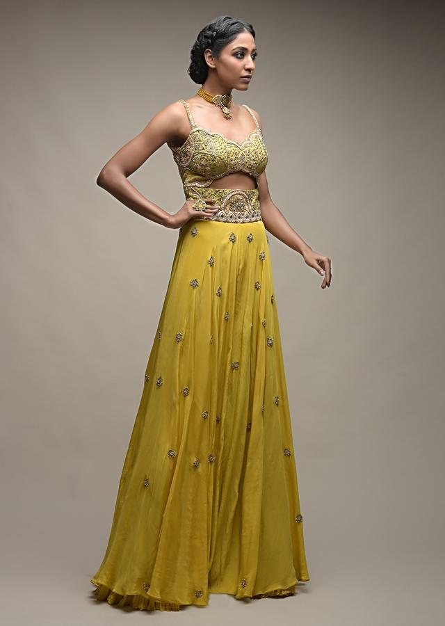 Citrus Jumpsuit In Crepe With Front Cut Out And Zardozi Embroidered Floral Jaal Online - Kalki Fashion