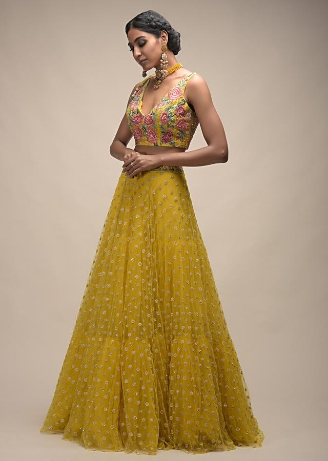 Citrus Lehenga And Crop Top With Resham Embroidered Spring Blossoms Online - Kalki Fashion