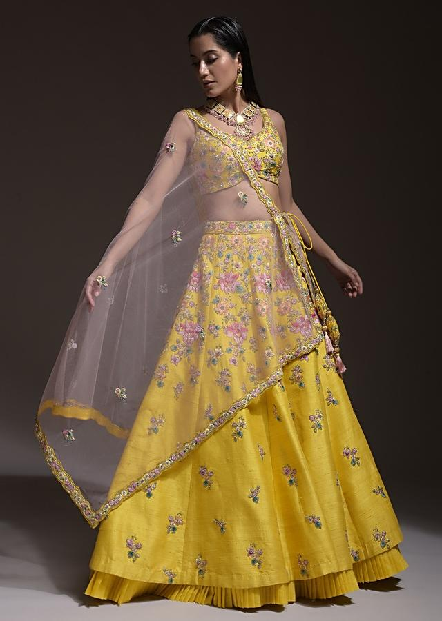 Citrus Lehenga Choli In Raw Silk With Resham Embroidered Spring Blooms And Gradating Floral Buttis Online - Kalki Fashion