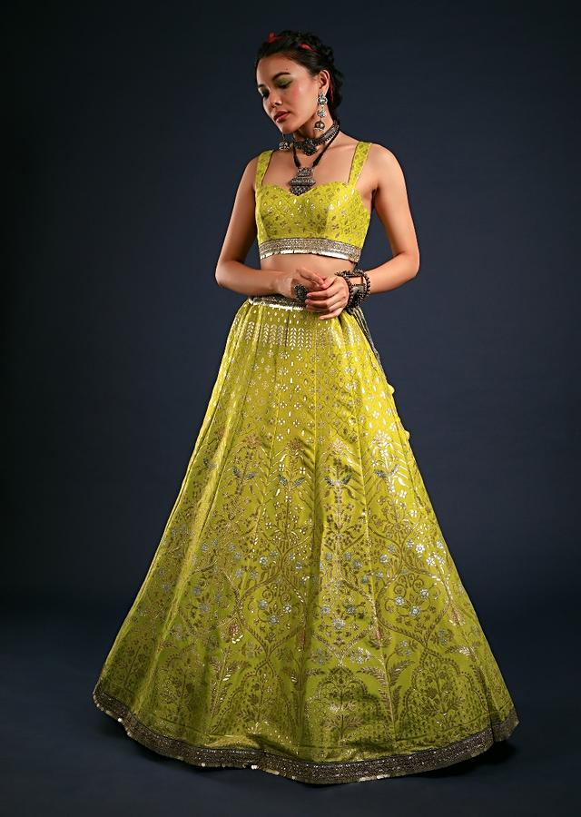 Citrus Lime Lehenga In Brocade Silk With Golden And Silver Woven Moroccan Kalis And Contrasting Grey Dupatta Online - Kalki Fashion