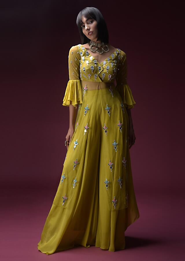 Citrus Yellow Palazzo Suit With A Ruffle Jacket Top Adorned In Flower Shaped Mirror Embroidery Online - Kalki Fashion