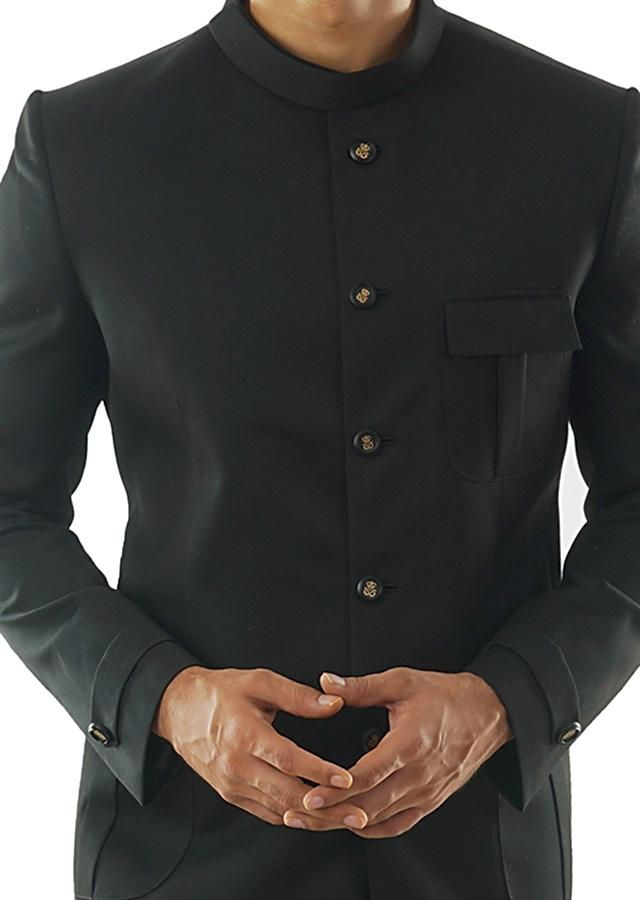 Classic Black Bandhgala With Patch Pocket Detail & Slim Fit Trousers Online - Kalki Fashion