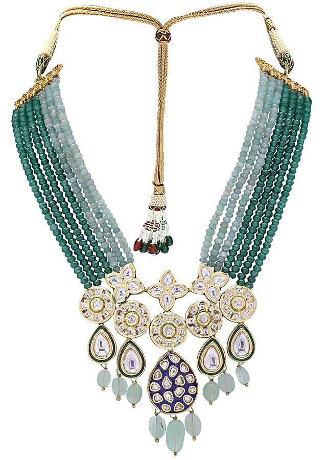 Classic Green And Blue Beads Layered Necklace Set With Kundan And Semi Precious Stones Online - Joules By Radhika