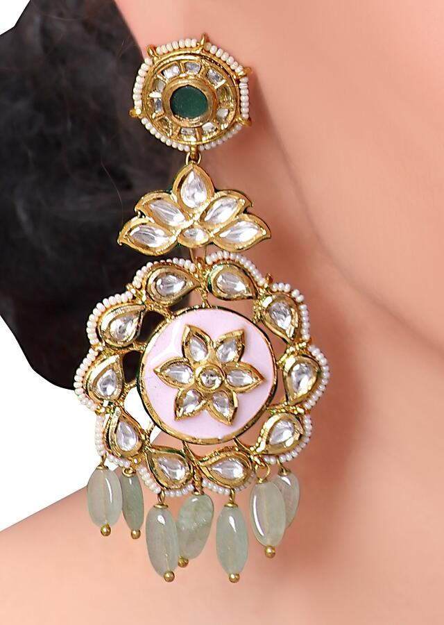 Classic Kundan Earring With Pink Floral Minakari And Green Jade Beads Online - Joules By Radhika