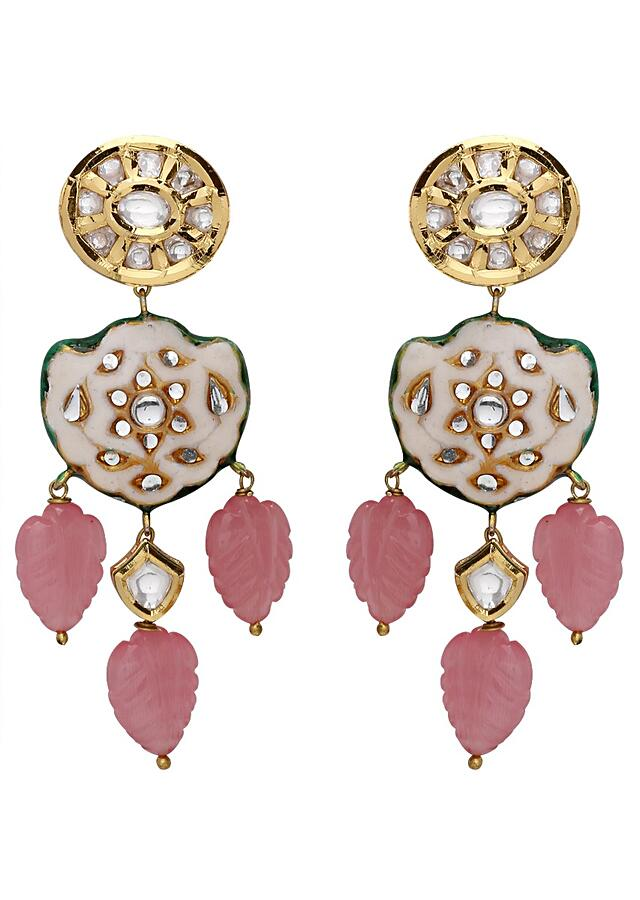 Classic Kundan Earrings With Pink Quartz Leaf Carving And White Floral Enamelling  Online - Joules By Radhika