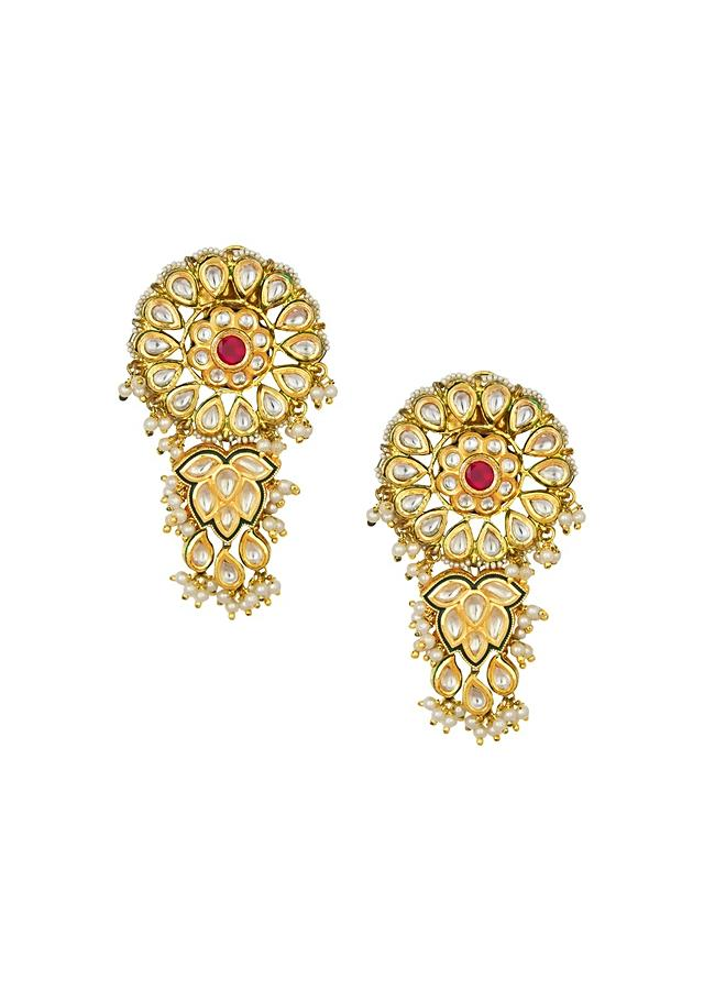 Classic Kundan Polki Earrings With Hydro Ruby And White Shell Pearl In Floral Design Online - Joules By Radhika