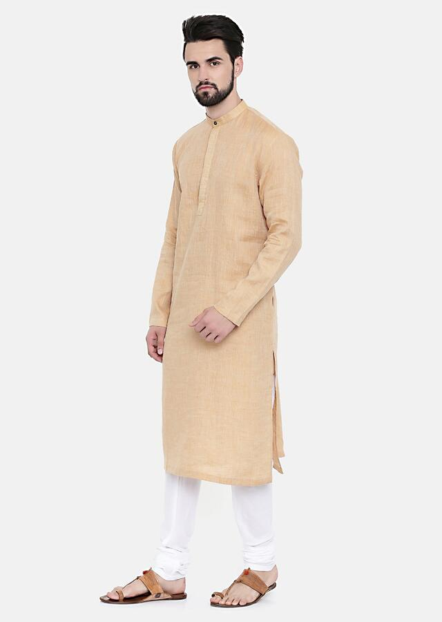 Classic Rust Beige Kurta And Churidar Set With Gold Thread Running Stitches On The Placket By Mayank Modi