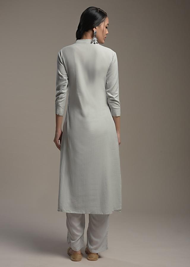 Cloud Grey A Line Suit In Cotton Blend With Block Printed Floral Motifs And Sequin Accents Online - Kalki Fashion