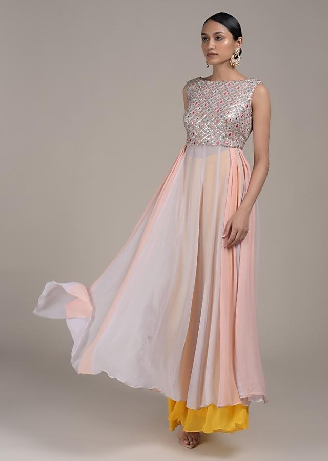 Cloud Grey A Line Suit With Shaded Peach Effect And Abla Embroidery Online - Kalki Fashion