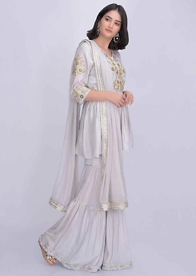 Cloud Grey Sharara Suit In Cotton Silk With Matching Chiffon Dupatta Online - Kalki Fashion