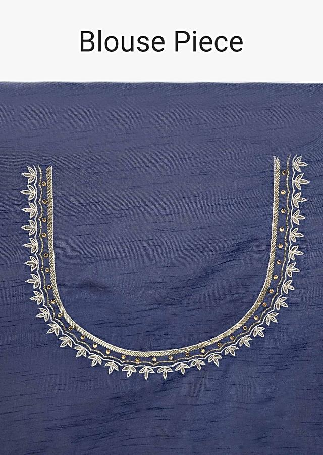 Cloud Grey Saree In Dupion Silk With Embroidered Butti And Border Online - Kalki Fashion