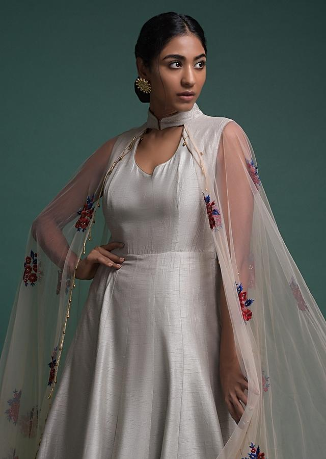 Cloud Grey Indowestern Suit In Raw Silk With Attached Net Cape With Floral Motifs Online - Kalki Fashion