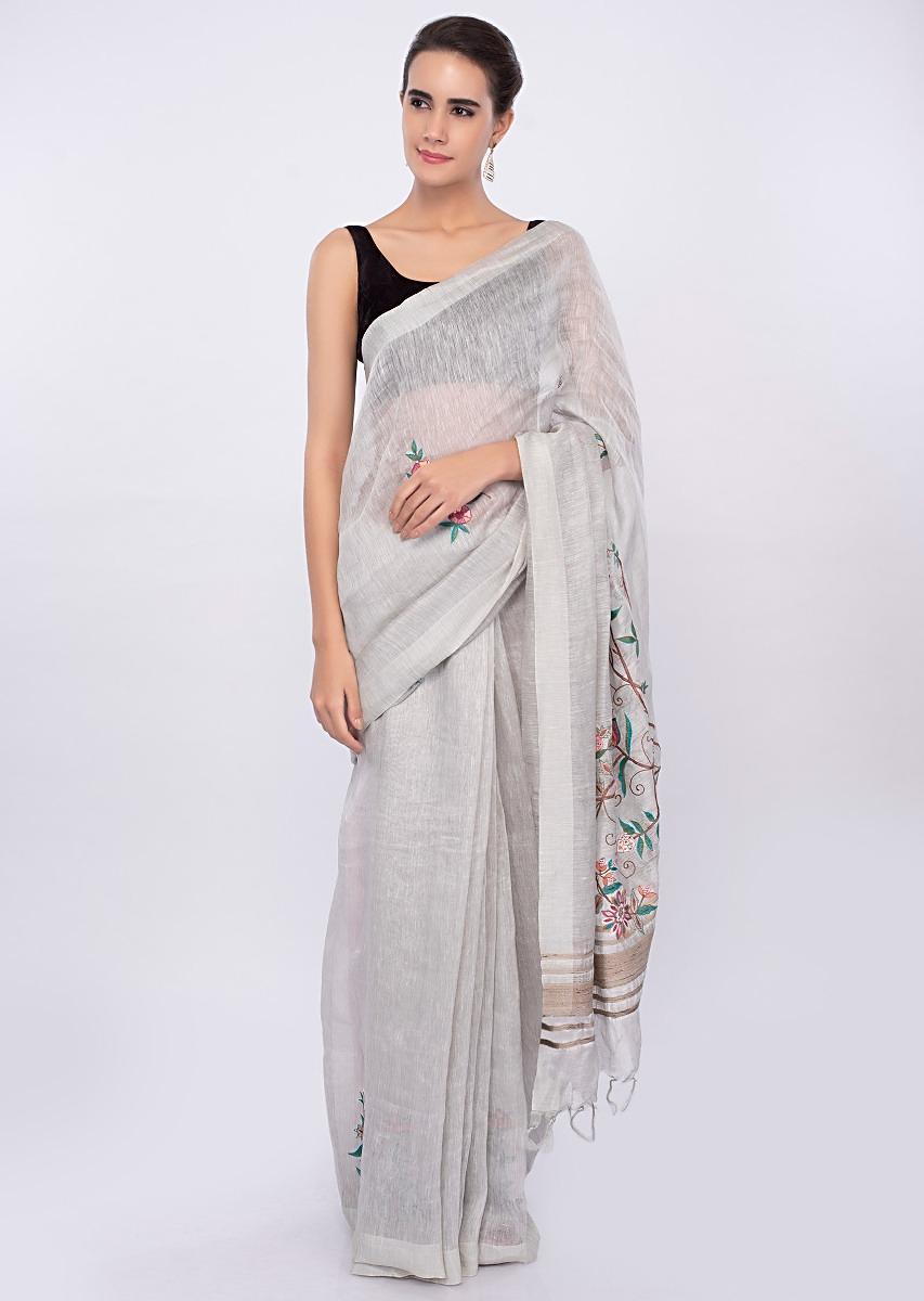Cloud Grey Saree In Linen With Floral Embroidery And Butti Online