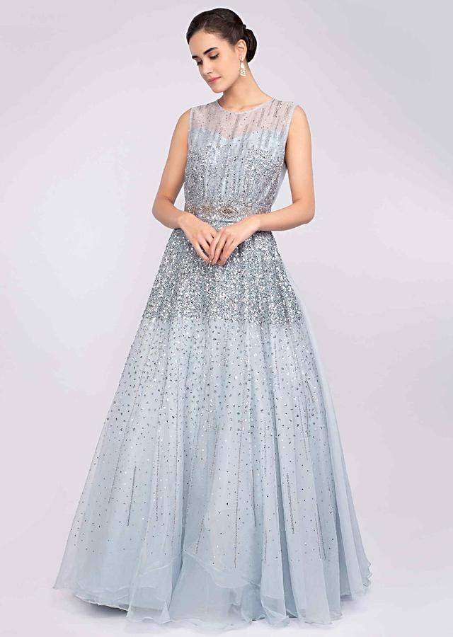 Cloud Grey Gown In Organza Embellished With Sequins And Cut Dana Work Online - Kalki Fashion