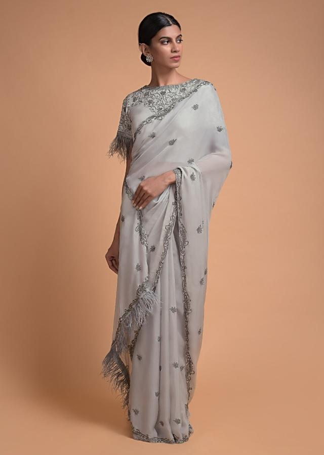 Cloud Grey Saree In Crepe With Beads Buttis And Feather Fringes On The Border Online - Kalki Fashion