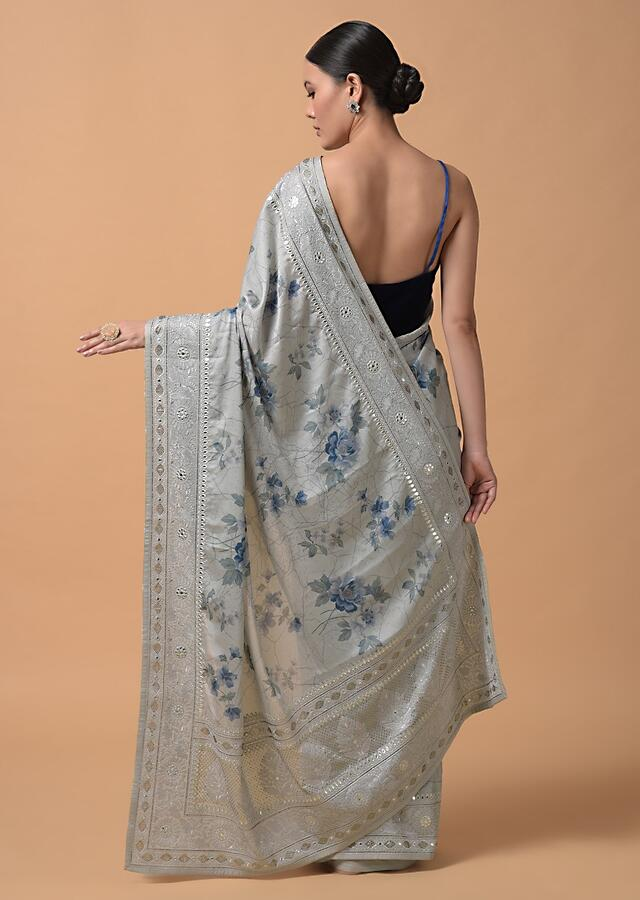 Cloud Grey Saree In Georgette Blend With Floral Print And Embroidered Border Online - Kalki Fashion