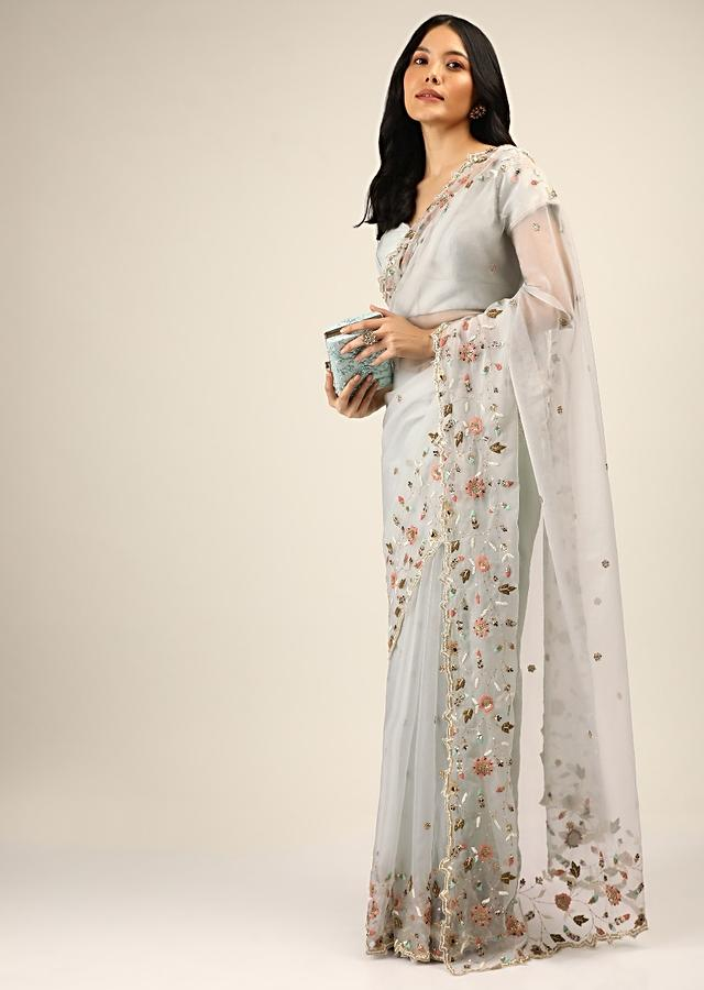 Cloud Grey Saree In Organza With Colorful Resham And Sequins Embroidered Floral Motifs Along The Border Online - Kalki Fashion