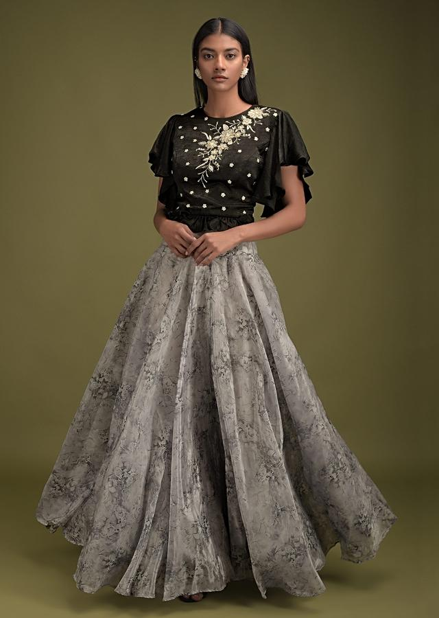 Cloud Grey Skirt In Organza With Floral Print And Black Crop Top With Ruffle Sleeves And Pearl Work Online - Kalki Fashion