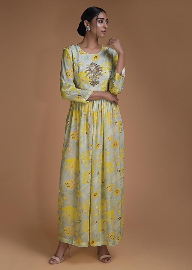 Cloud Grey Tunic Dress In Crepe With Floral Print And Embroidered Floral Motif Online - Kalki Fashion