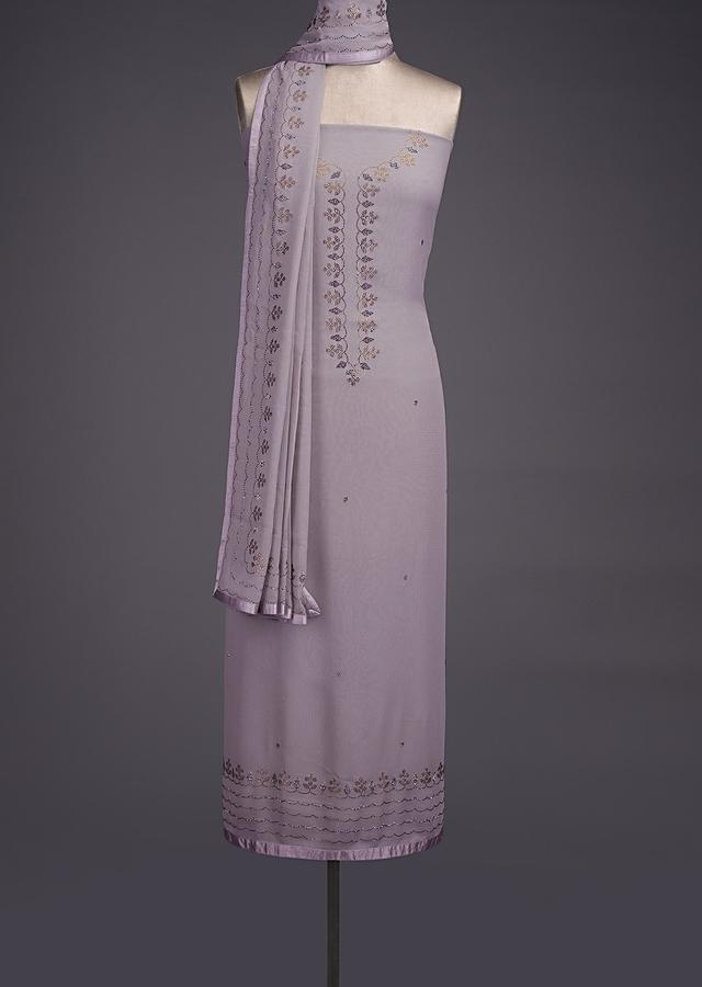 Cloud Grey Unstitched Suit In Georgette With Kundan Embellished Buttis And Border Online - Kalki Fashion