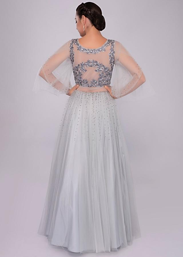 Cloud Grey Voluminous Gown With Self Floral Resham Embroidered Bodice Online - Kalki Fashion