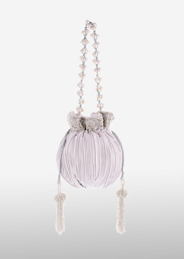 Cloud White And Silver Potli Bag In Silk With Woven Silver Stripes And Cut Dana Embroidery Online - Kalki Fashion