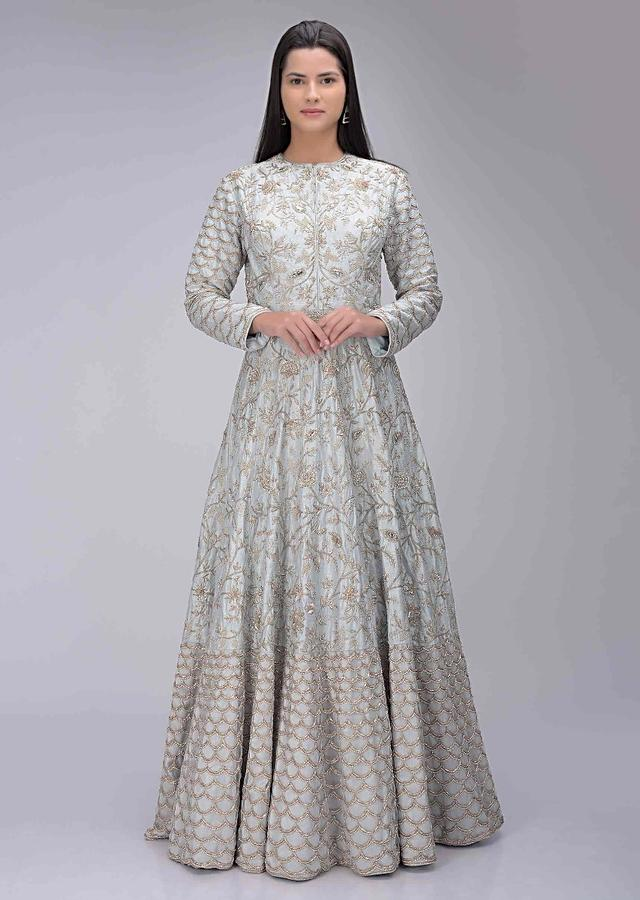 Cloud Grey Gown In Embellished Raw Silk With Powder Peach Net Dupatta Online - Kalki Fashion