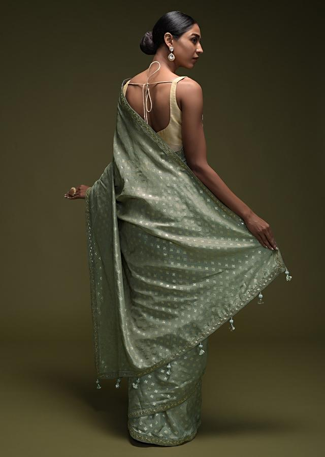 Cloud Grey Saree In Silk Blend With Brocade Buttis And Gotta Patti Embroidered Border Online - Kalki Fashion