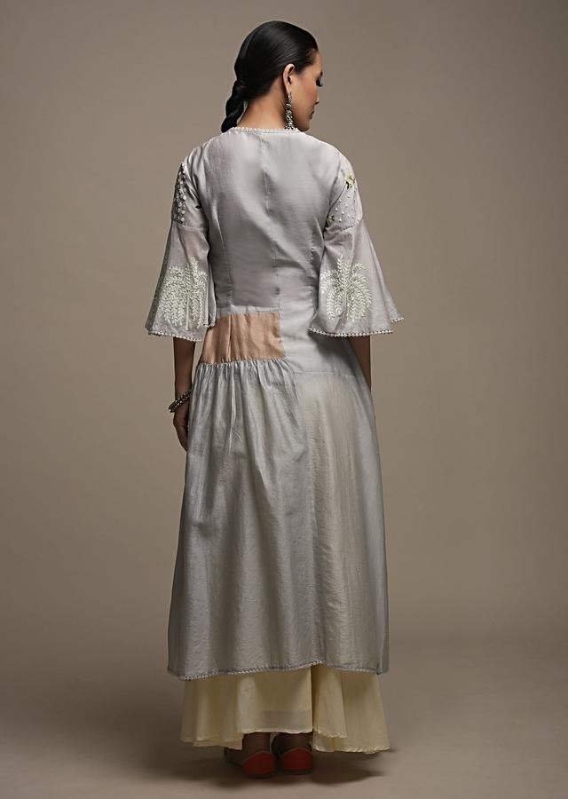Cloud Grey Tunic In Cotton With Frill On The Side And Adorned With Flower Sequins And Thread Work Online - Kalki Fashion