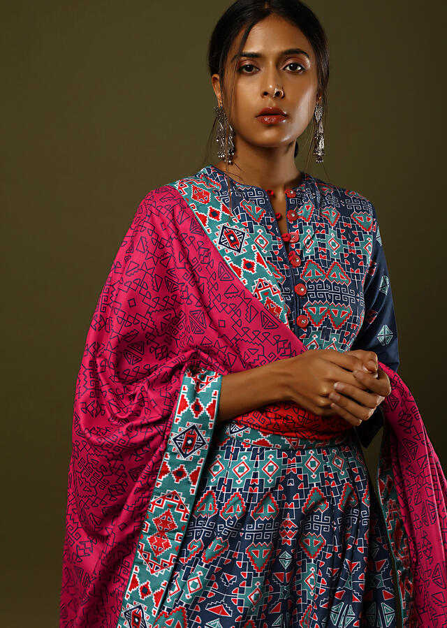 Cobalt Blue Anarkali Suit In Cotton Silk With Patola Print All Over And Contrasting Pink Printed Dupatta Online - Kalki Fashion