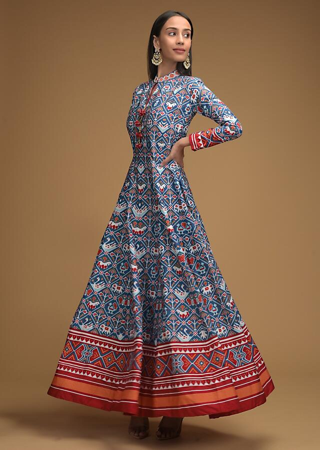 Cobalt Blue Anarkali Suit With Patola Printed Jaal And Contrasting Red Dupatta Online - Kalki Fashion