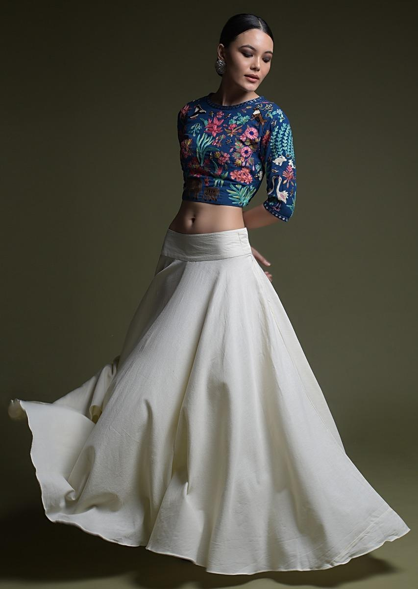 Cobalt Blue Crop Top With Kashmiri Hand Embroidery And Contrasting Off White Skirt Online - Kalki Fashion