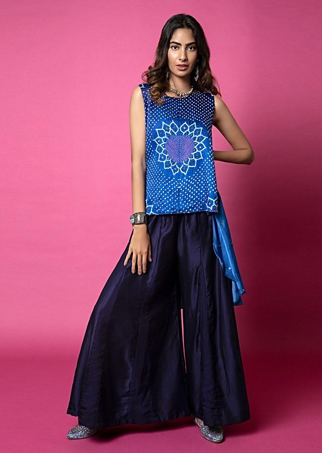 Cobalt Blue High Low Top And Paneled Sharara Pants Set Featuring Bandhani And Hand Embroidery Detail Online - Kalki Fashion