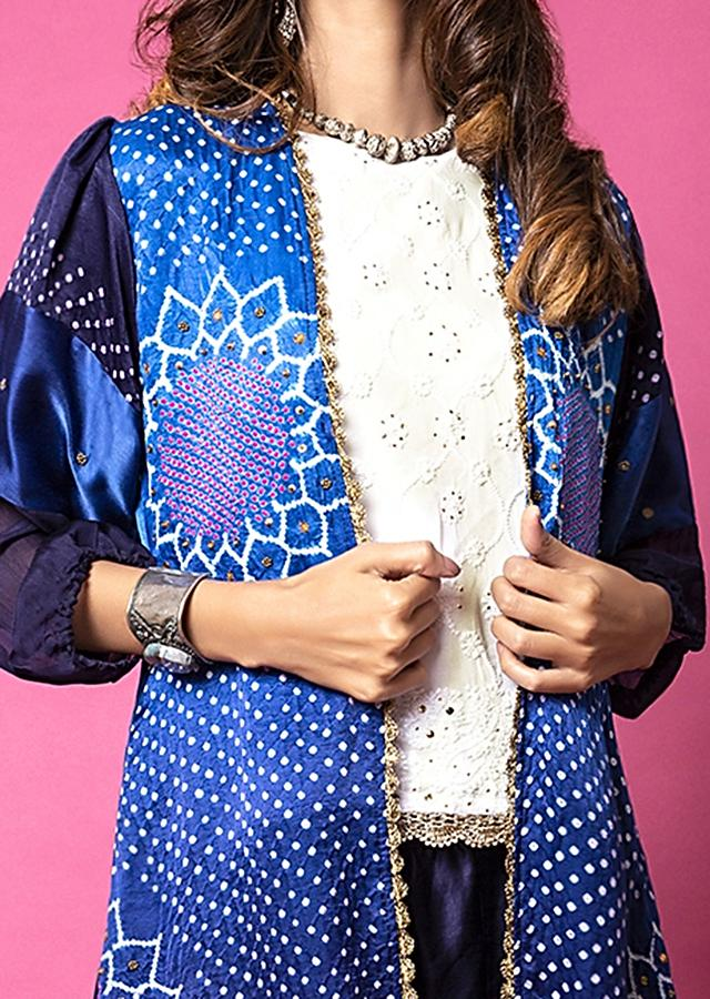 Cobalt Blue Paneled Sharara Pants And Bandhani Jacket Paired With Lucknowi Embroidered Top Online - Kalki Fashion
