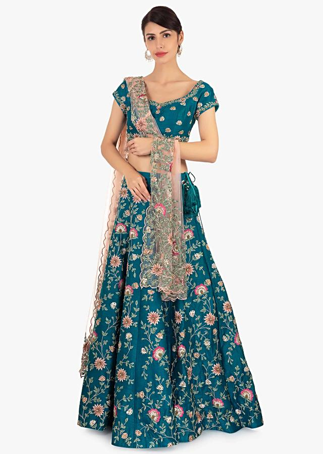 Cobalt Blue Lehenga Set In Raw Silk Paired With Pink Net Dupatta Online - Kalki Fashion