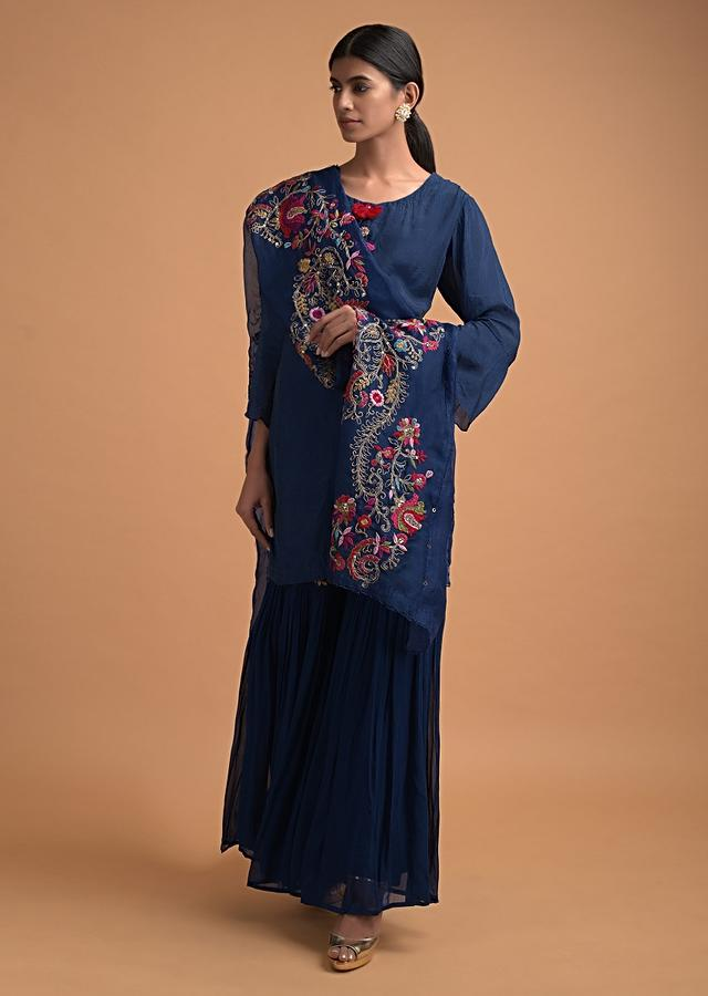Cobalt Blue Sharara Suit In Crushed Crepe With Flared Sleeves Online - Kalki Fashion