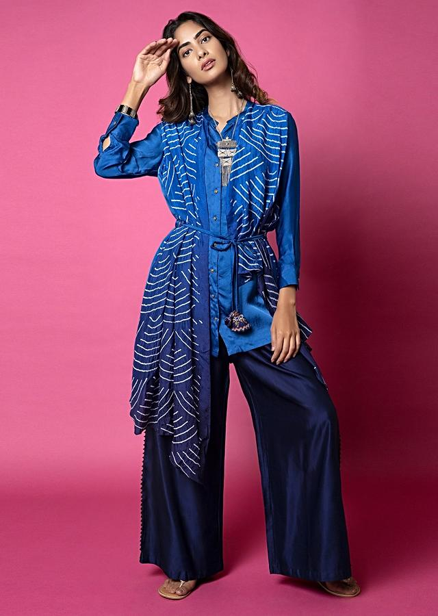 Cobalt Blue Shirt With Attached Midnight Blue Ombré Bandhani Drape And Pleated Midnight Blue Palazzo Pants Online - Kalki Fashion