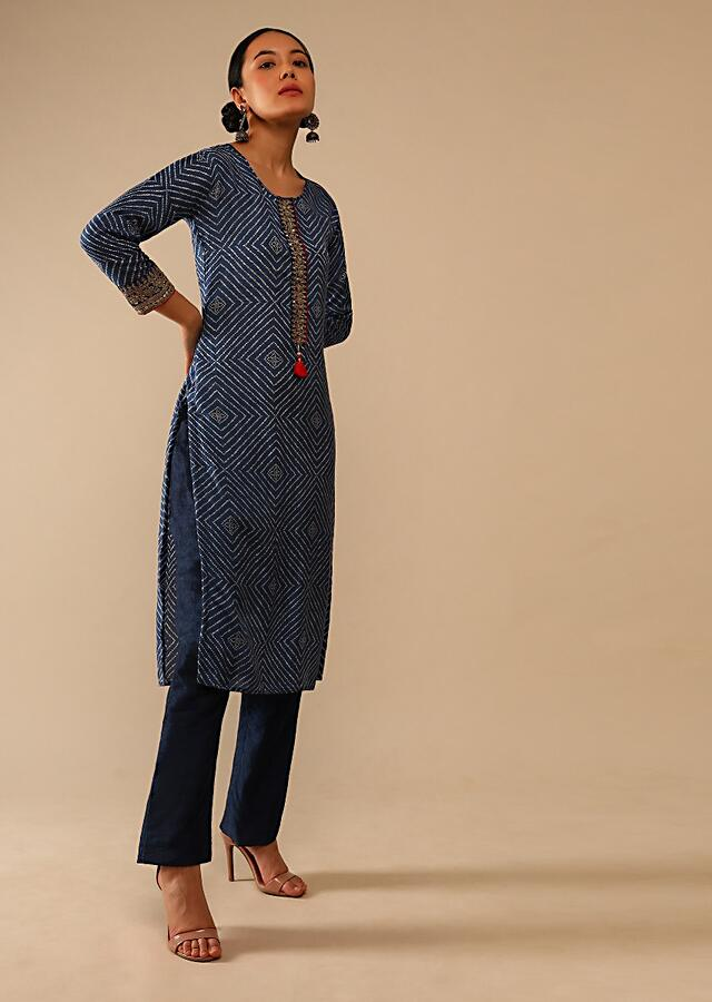 Cobalt Blue Straight Cut Kurti In Cotton With Bandhani Print In Geometric Motifs And Adorned With Sequins And Zari Work Online - Kalki Fashion