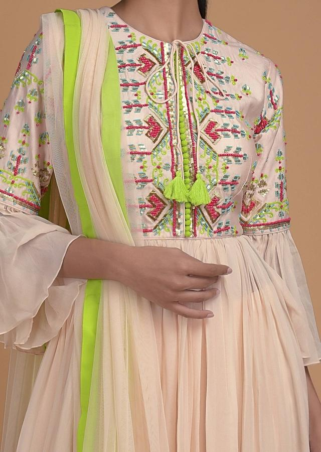 Coconut Cream Palazzo Suit In Georgette With Beads And Thread Embroidered Bodice Online - Kalki Fashion