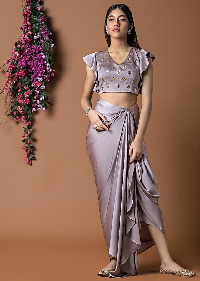 Coffee Colour Crop Top With Soft Ruffle Sleeves And Draped Dhoti Skirt Online - Kalki Fashion
