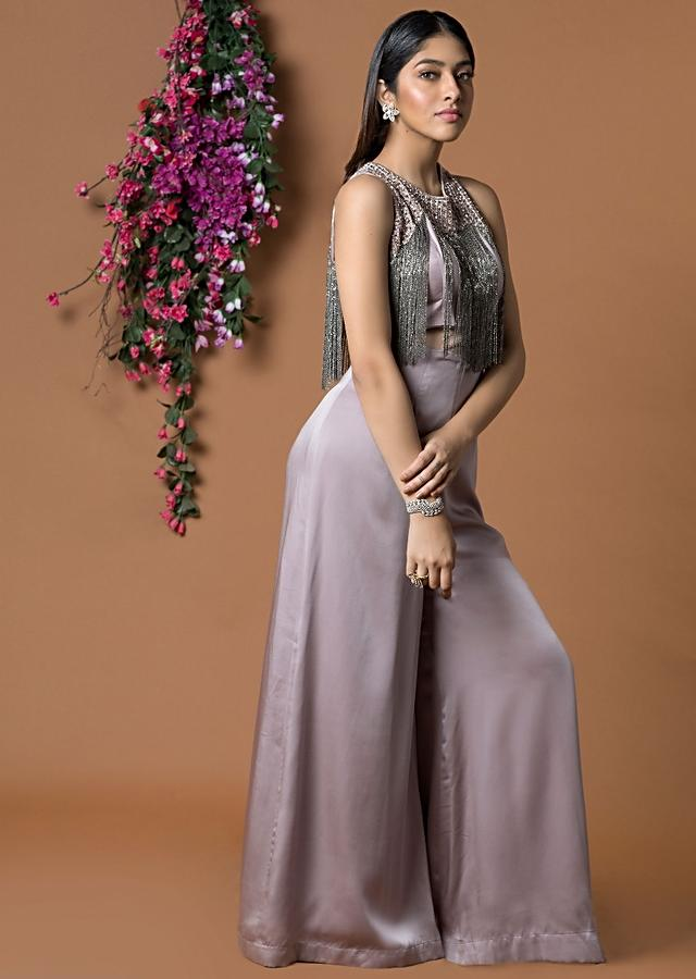 Coffee Colour Jumpsuit With tassel Chains On bodice Online - Kalki Fashion