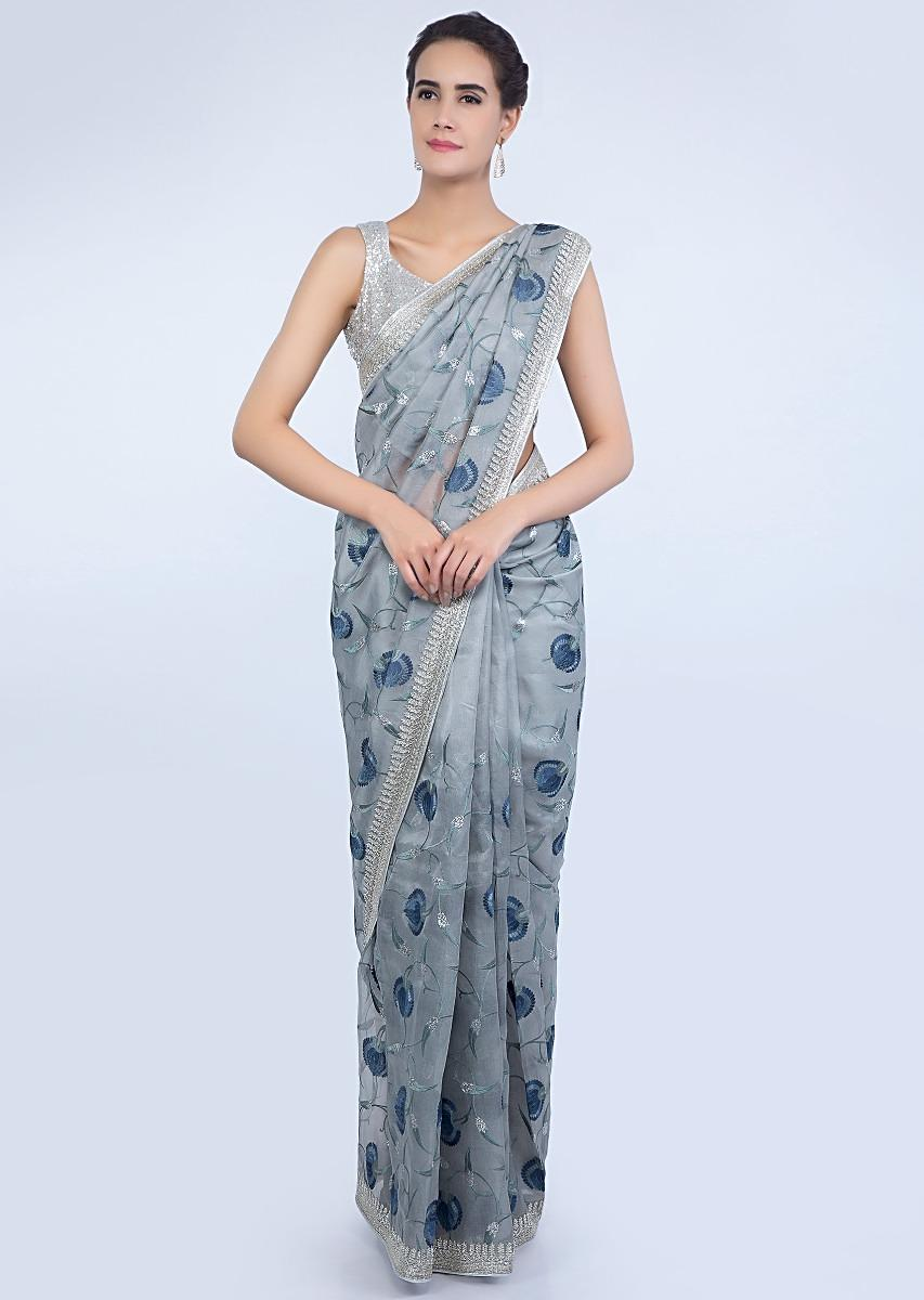 7b6ab6bace Coin grey organza saree with cut dana and floral jaal embroidery border  only on KalkiMore Detail