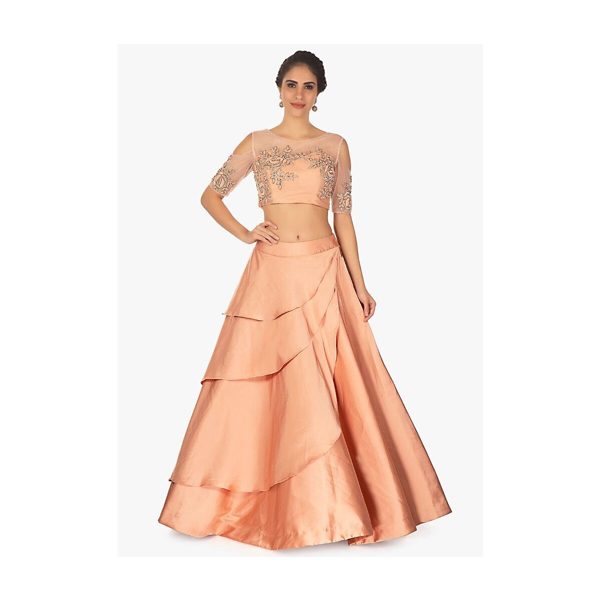 32fd072c34e553 Cold shoulder peach crop top with layered satin skirt only on Kalki