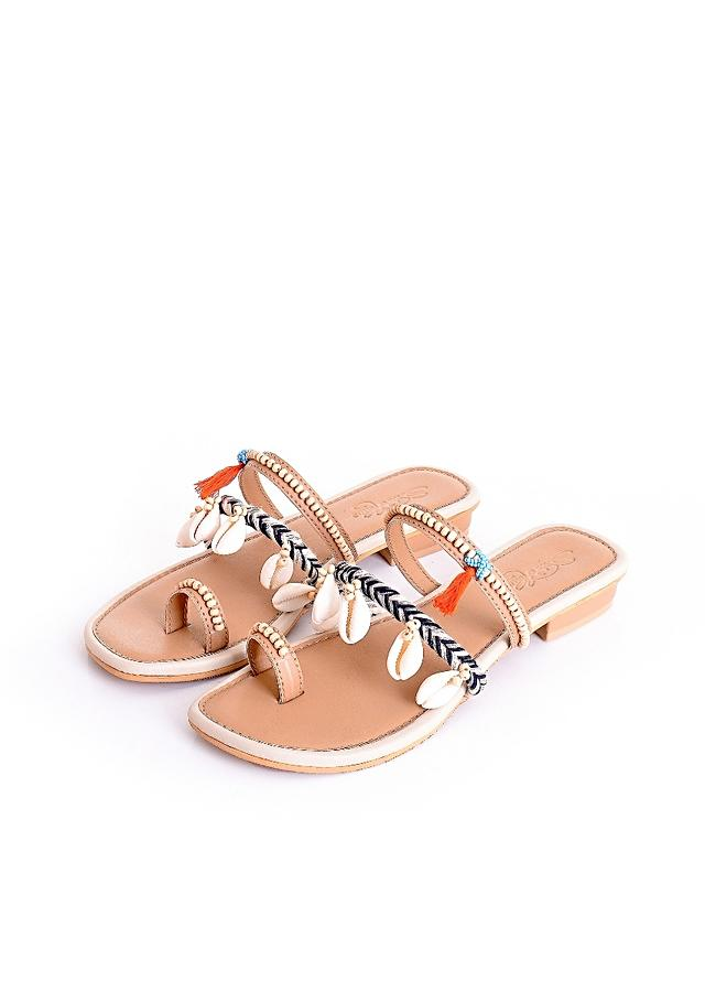 Cream Multistrap Slider Flats With Conchas, Turquoise Beads And Orange Tassels By Sole House